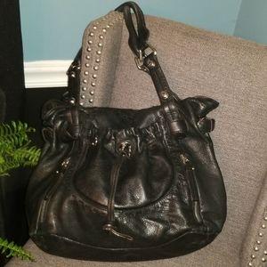 B. Makowsky XL Black Leather Shoulder Bag Purse